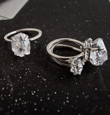 """Herkimer """"diamond"""" ring (Erica Weiner)    """"Despite their diamond misnomer, Herkimers are are actually six-sided, double-terminated quartz crystals and are relatively valueless. Nevertheless, unscrupulous jewelers during the Civil War often tried to pass off these stones as the more precious variety."""""""