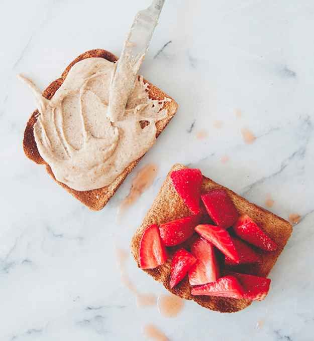 Honey, Almond Butter, and Strawberry Sandwiches