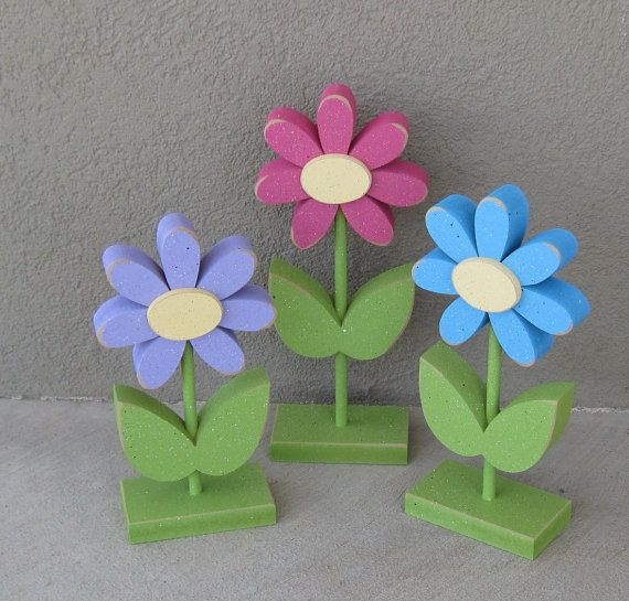 3 Tall Standing Flower Block Set for Spring decor por lisabees