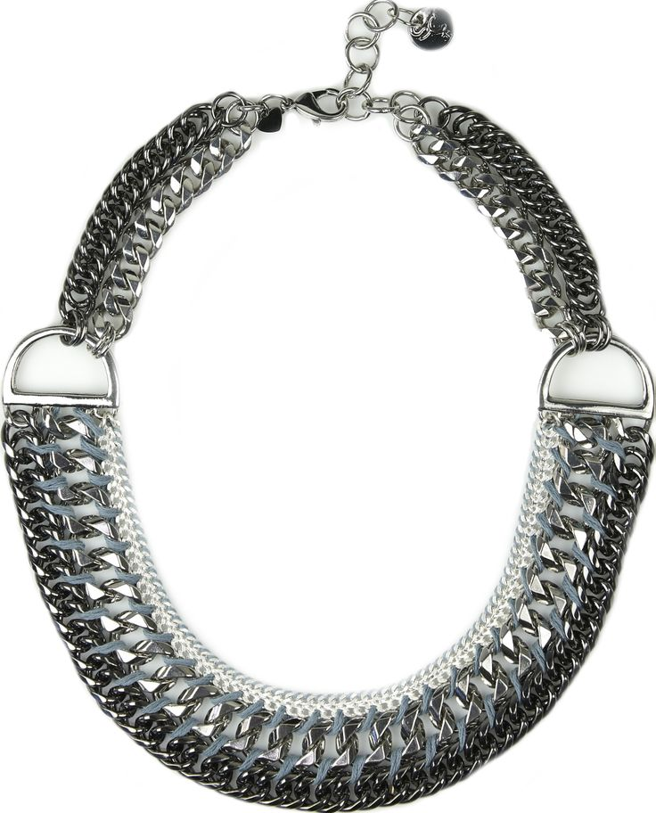 Mayfair- 3 tone silver chain necklace.  Add a little hardware to your outfits this season with Mayfair. This sophisticated piece features beautifully woven three tone silver/metal links, which are hand finished with woven cotton. Wear with skinny black jeans to complete your glam rock look. Or use it to add a little class to a feminine frock. http://www.byariane.com.au/Sistaco-Mayfair