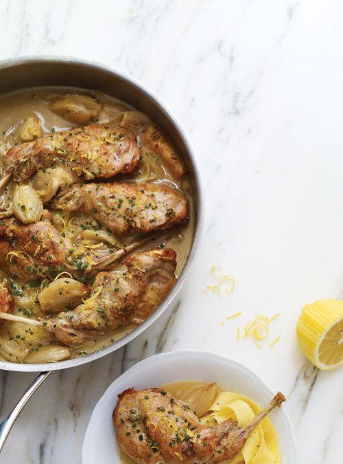 Lapin au citron et au parmesan  Ricardo.....excellent site cuisine française !