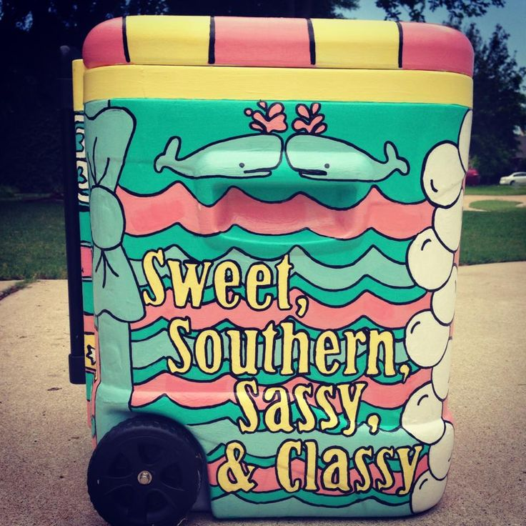 Painted Coolers | Tri Sigma | Love the color combos!