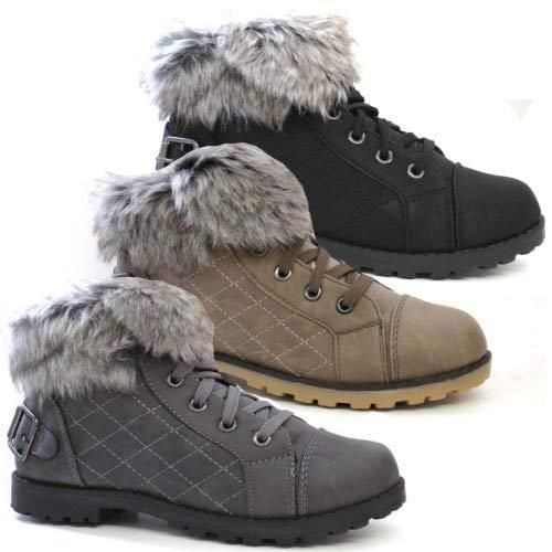 Ladies Winter Boots Girls Womens Ankle Snow Grip Fur Hi Tops Trainers Shoes Size