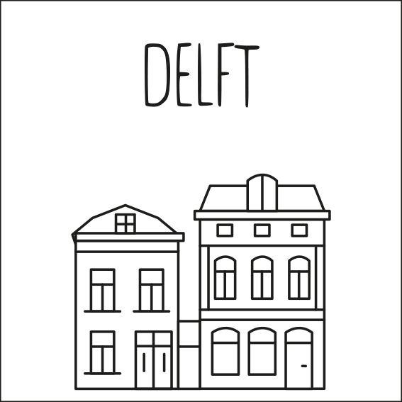 Haal een beetje van Delft in huis met deze leuke 'straat' #raamtekening met een paar van de bekende gebouwen: Stationsgebouw, Oude Jan, Oostpoort, straatje van Vermeer, Watertoren, Stadhuis, Nieuwe kerk & Blauwe hart en Porceleyne Fles.