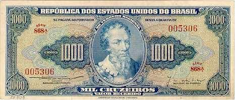 1000 Крузейро (1953) Бразилия (Brazil) Южная Америка