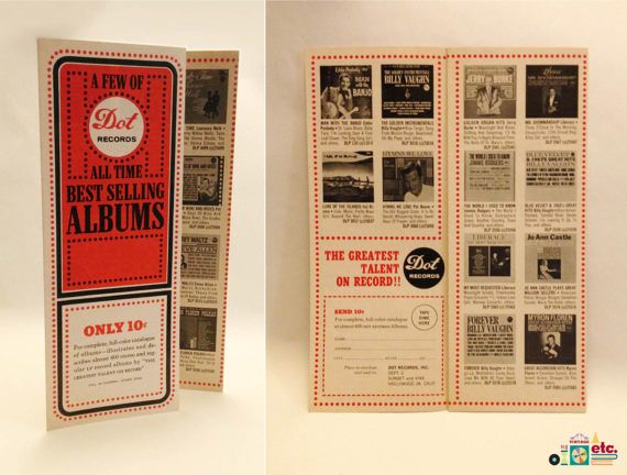 Dot Records Brochure 4-Panel All Time Best Selling Albums