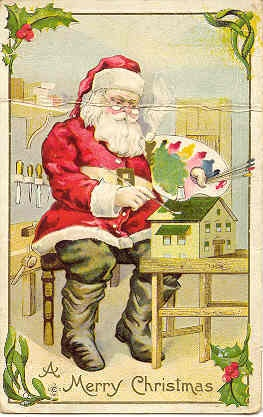 """ Santa At Work "" Vintage Post Card. Card has an embossed surface, DB-UNU with a light horizontal crease at head level, and in Very Good condition otherwise. Karodens Vintage Post Cards at www.bonanza.com/booths/karoden"