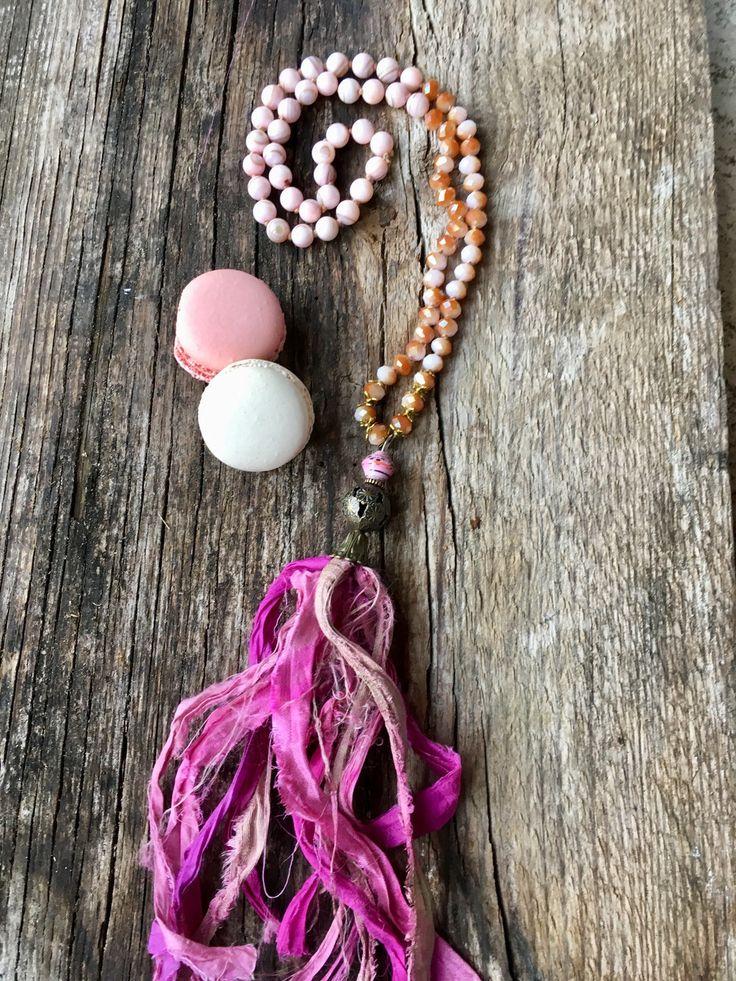 Ketten lang - Boho Kette lange Sari Seiden Quaste Pink Rosé - ein Designerstück von Perlen-Kunst bei DaWanda