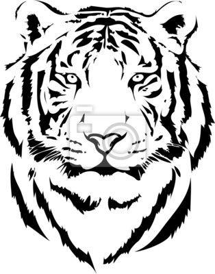 Papier peint tête de tigre dans l
