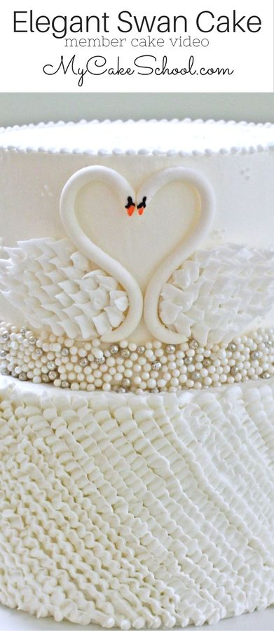 Elegant Swan Cake Video Tutorial by MyCakeSchool.com (member section). Perfect for Valentine's Day, Weddings, Anniversaries, and More!   #weddingcake #anniversary #elegantcake #cakedecorating