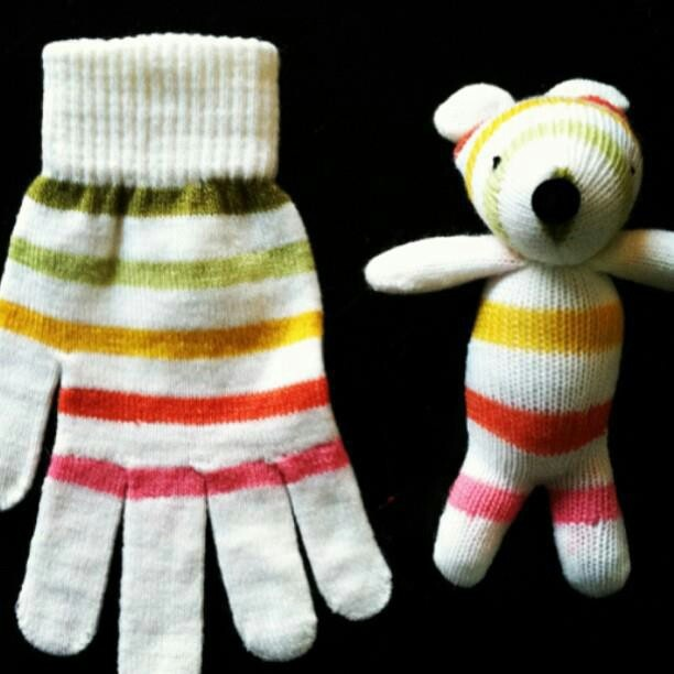 Turn a glove into a bear.