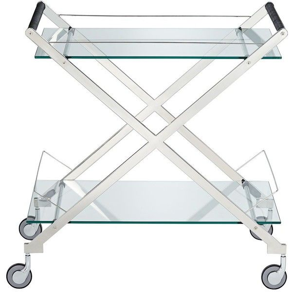 Bermuda Silver 2-Shelf Rolling Bar Cart ❤ liked on Polyvore featuring home, kitchen & dining, bar tools, contemporary bar cart and silver bar cart