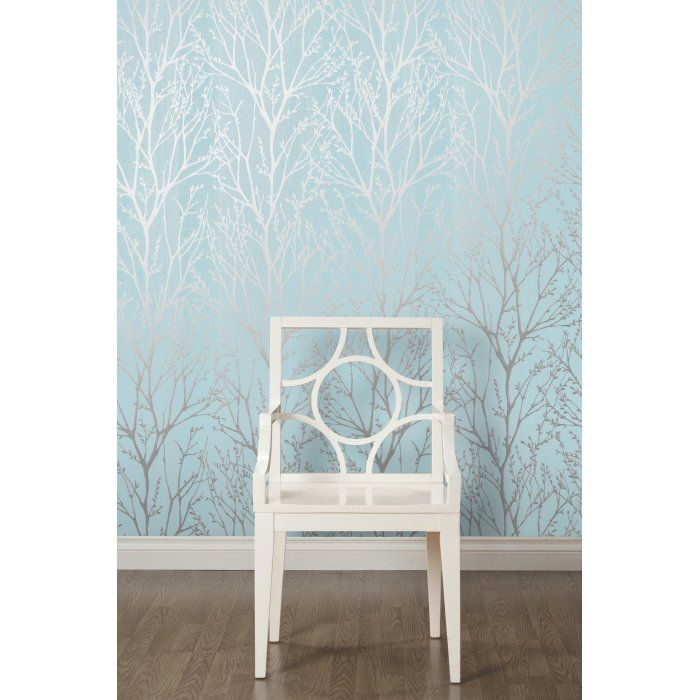 Bedroom Accent Wall With Teal Glitter Wallpaper: Shimmer Tree Wallpaper Teal Silver In 2019