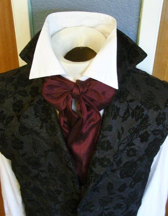 EXTRA LONG Slim REGENCY Brummel Victorian Ascot Tie Cravat - Maroon Wine Dupioni Silk