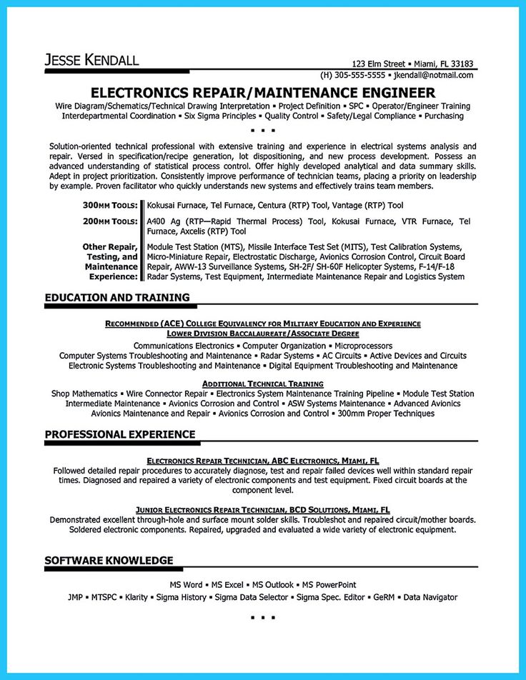 192 best resume template images on Pinterest Resume templates - sample resume for maintenance technician