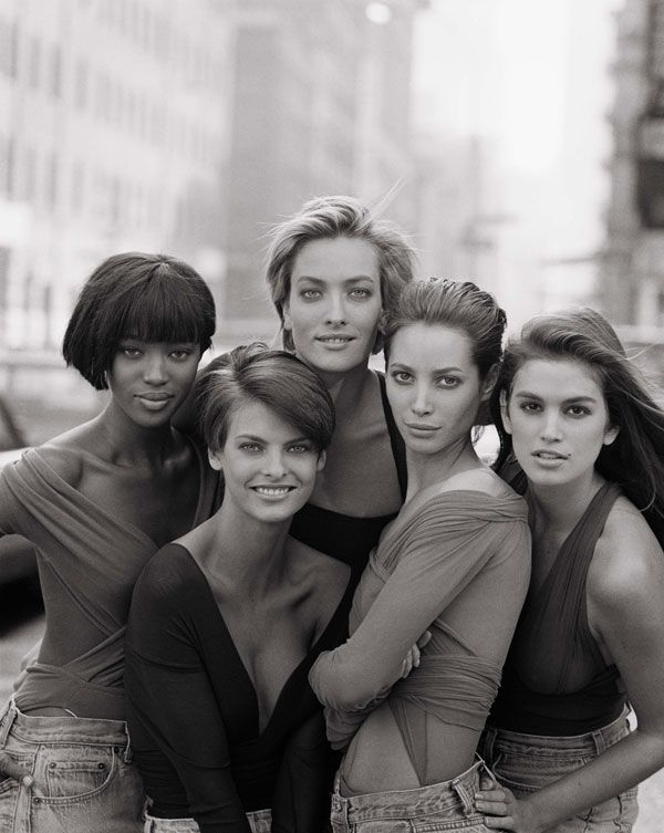 1980s Naomi Campbell, Linda Evangelista, Tatjana Patitz, Christy Turlington and  Cindy Crawford by Peter Lindbergh for Vogue (UK) January 1980