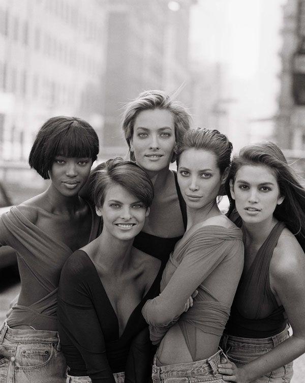 Naomi Campbell, Linda Evangelista, Tatjana Patitz, Christy Turlington, and Cindy Crawford British Vogue January 1990 by Peter Lindbergh