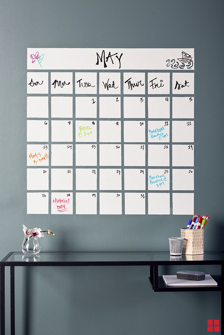 Calendar painted with dry erase paint. In theory this is awesome.  Not sure mine would look this good.