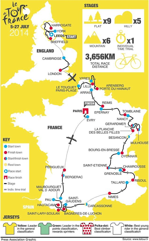 Tour de France 2014 route map. Join HC Bike tours to cycle and to watch the Tour LIVE in July 2014!