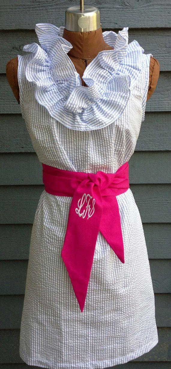 Lola, seersucker dress, with a flirty neckline ruffle