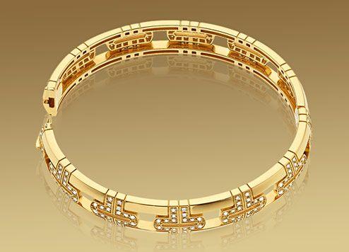 parentesi bracelet in yellow gold with pav diamonds