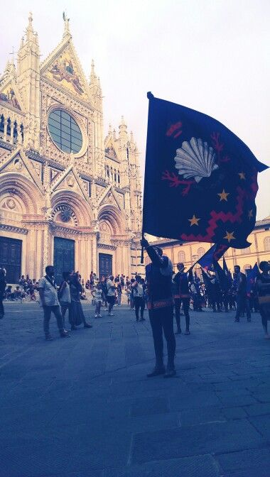 The contrada of Nicchio marching the streets of Siena. Watching men in tights swinging flags is definitely worth to waste some hours on.