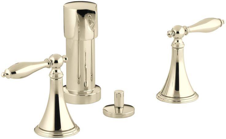 Kohler K-316-4M Finial Traditional Deck Mounted Bidet Faucet with UltraGlide Tec French Gold Faucet Bidet Vertical Spray