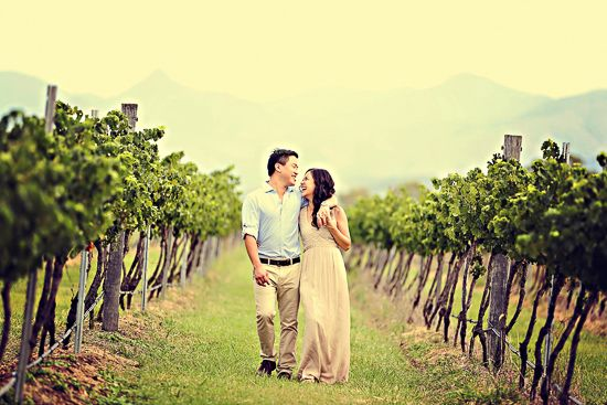 A gorgeous engagement shoot in Boonah vineyard with the countryside surrounding the happy couple