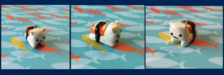 Sushi cat #sushicat #polymerclay  visit my shop on etsy! www.etsy.com/shop/TheCraftyWhale