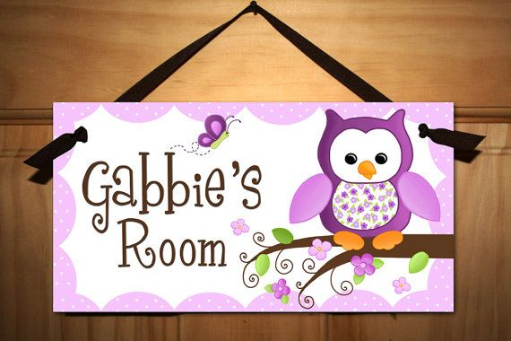 Hey, I found this really awesome Etsy listing at http://www.etsy.com/listing/153428970/kids-door-sign-pretty-purple-owl-girls