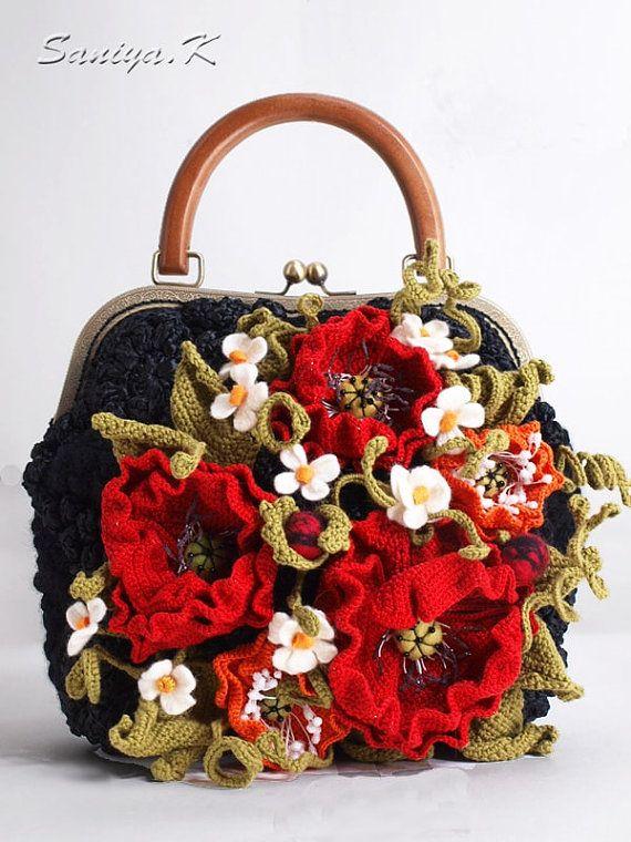 Bag crocheted Poppy ladies black by SaniyaK on Etsy