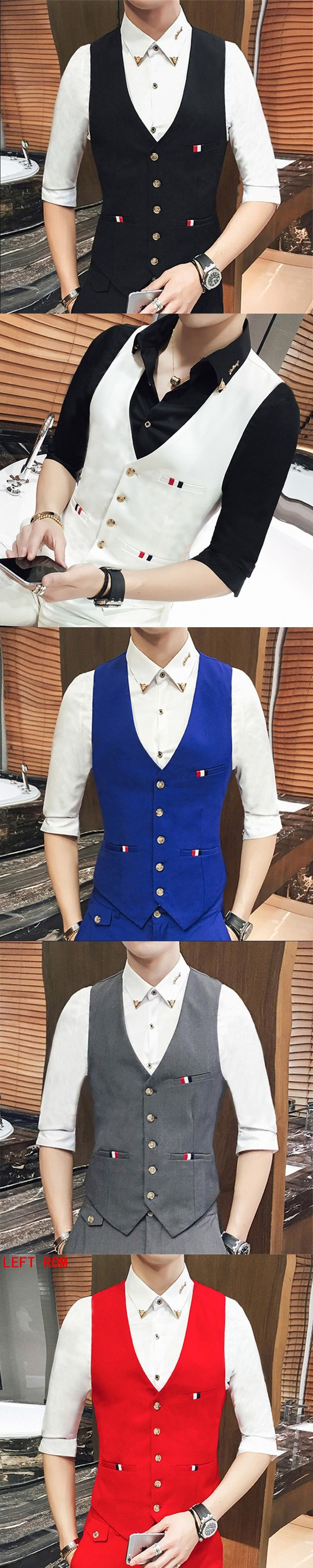 New Wedding Dress High-quality Goods Cotton men's Fashion Design  men's Business Casual Single-breasted Suits Vest Wedding Men