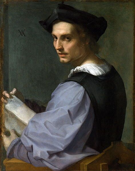 Portrait of a Young Man, 1517-18. Andrea del Sarto (1486-1530.) National Gallery, London. | According to the National Gallery, it was once thought that the sitter was a Florentine sculptor, and that the object in his hands was a block of stone, although it resembles a book. Recently he has been identified as a patron of Sarti's whose family owned a brickworks, leading some to suggest that the book may actually be a brick. Hmmm... not sure.