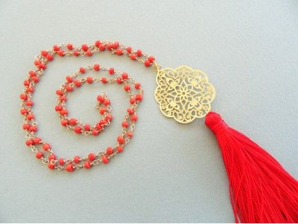 Red hot Rosary Necklace