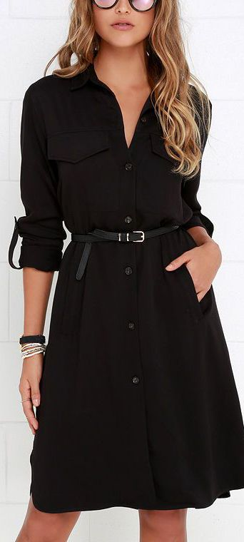 Black Shirt Dress ==