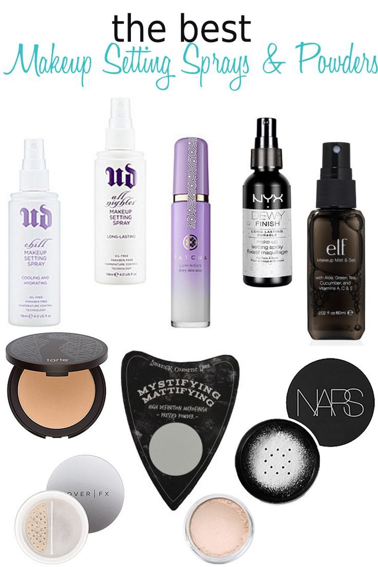 10 Best Makeup Setting Sprays and Powders. There are sprays to meld your makeup together without making it streaky, sprays to hold your makeup in place all day no matter the weather, and sprays for dry or oily skin! Powders to blur skin imperfections, too!
