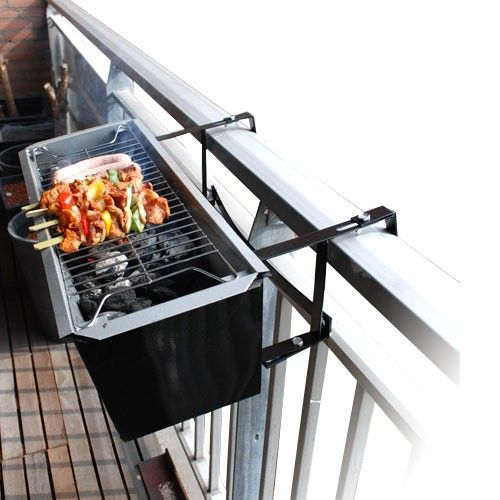 Balcony Barbecue that hangs from the railing - perfect for narrow balconies! Can also be used as a planter