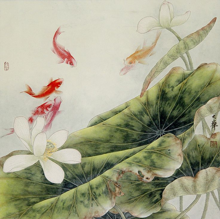 Lou Dahua   Самое интересное в блогах. ChinesischLotus MalereiJapanische ...