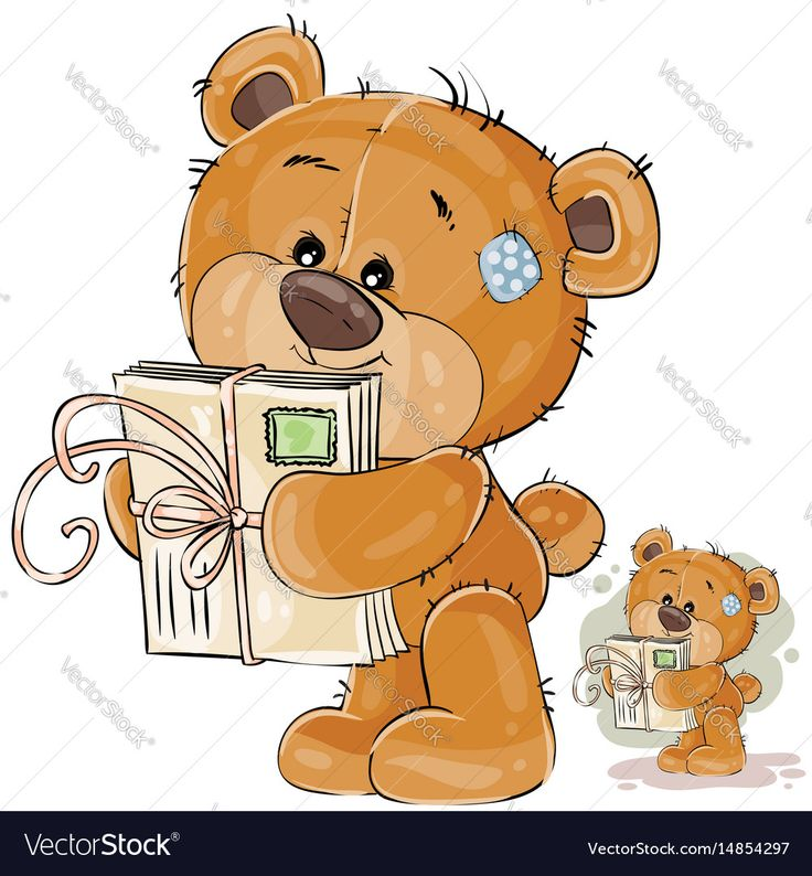 Vector illustration of a brown teddy bear holding in its paws received letters. Print, template, design element. Download a Free Preview or High Quality Adobe Illustrator Ai, EPS, PDF and High Resolution JPEG versions.