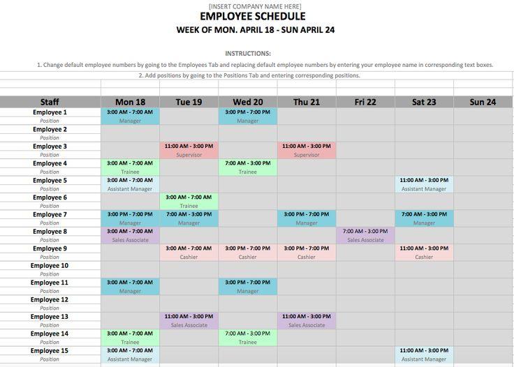 restaurant employee schedule template excel