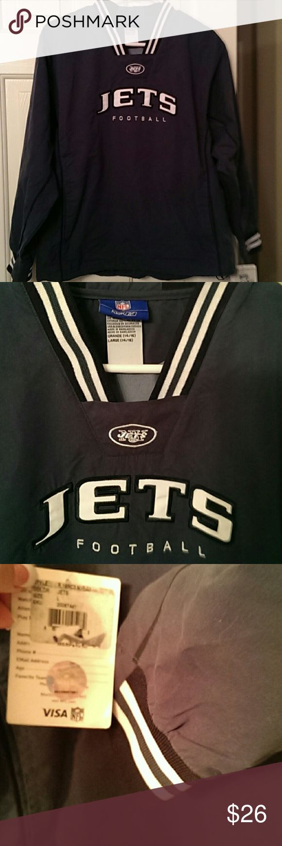 NWT Reebok NFL youth NY New York Jets pullover New with tags boys NY Jets pullover. Official NFL size large (14-16) by Reebok. Would fit and be loose on a ladies size M and a men's size S. Draw string pull around the bottom and two front pockets. 100% polyester. Makes a great wind breaker and shows your NY pride. Go green! Reebok Shirts & Tops Sweatshirts & Hoodies