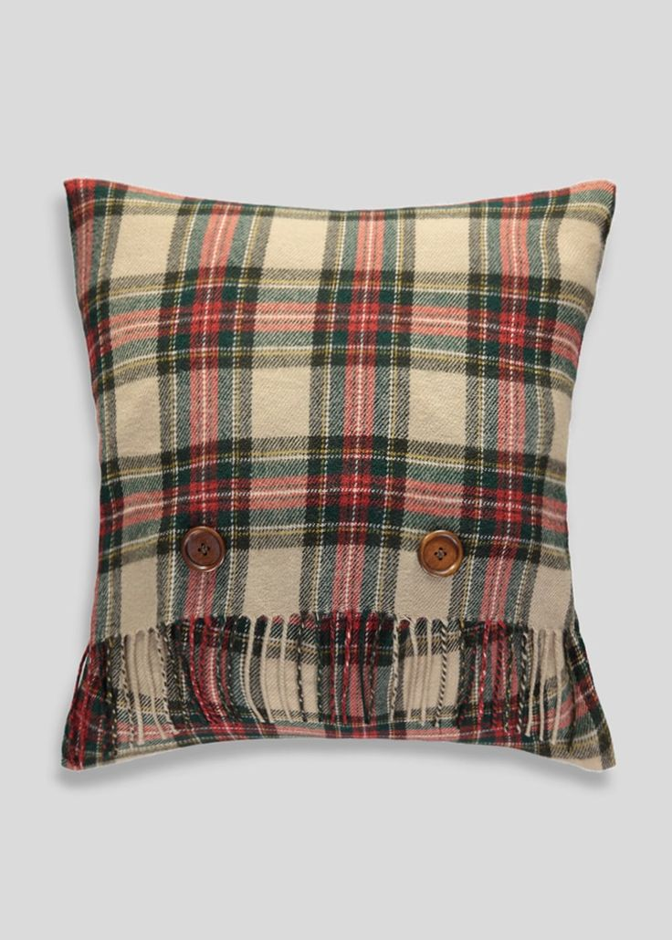 Checked Fringe Cushion (45cm x 45cm)