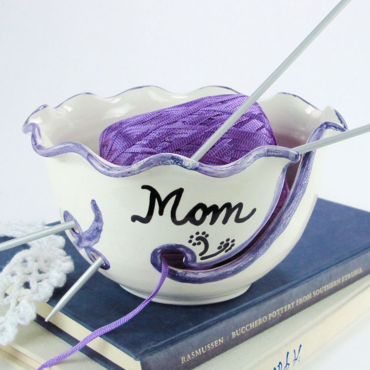 Personalized White / Purple Ruffled Ceramic Yarn Bowl by BlueRoomPottery | BlueRoomPottery... plus (+)