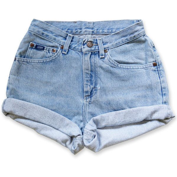 Vintage 90s Lee Light/Medium Blue Wash High Waisted Rise Cut Offs... ($40) ❤ liked on Polyvore featuring shorts, bottoms, pants, short, jean shorts, high-waisted cut-off shorts, high rise jean shorts, cuffed denim shorts and short shorts