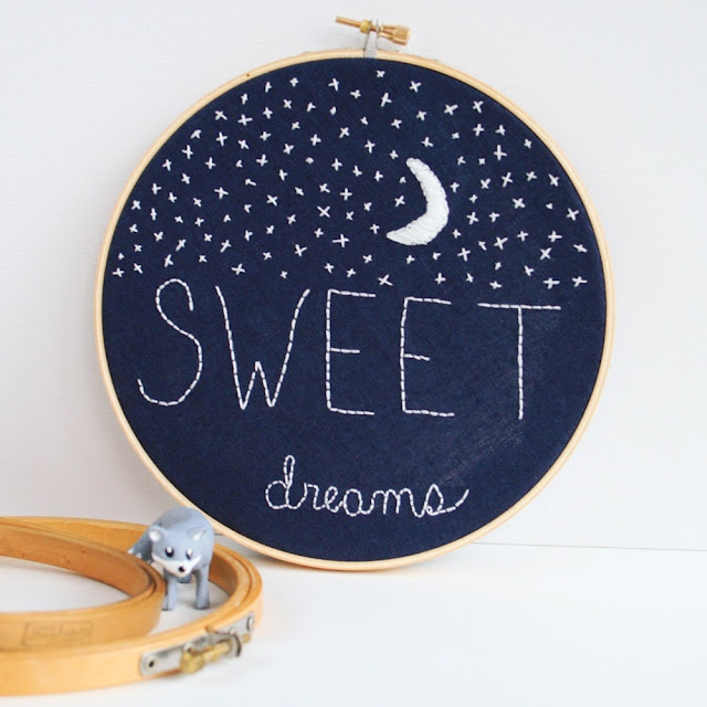 SWEET DREAMS~ Glow in the Dark Embroidery ~ made with DMC(E940) embroidery thread that really glows in the dark