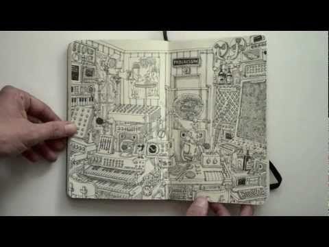 Moleskine sketchbook 18 by Mattias Adolfsson. Playful and inspiring sketchbook!