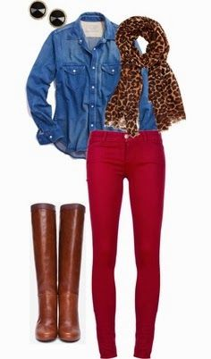 Red tight jeans, long boots with denim shirt | Fashion World