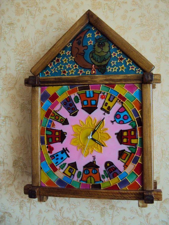 Часы витражные детские настенные от Stainedglasss500 на Etsy
