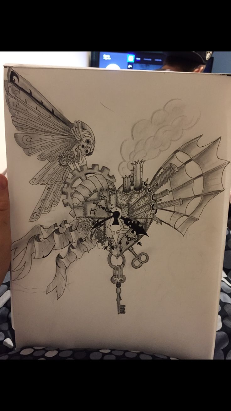 Heart lock and key steampunk heart I drew from a while ago with pen and pencils