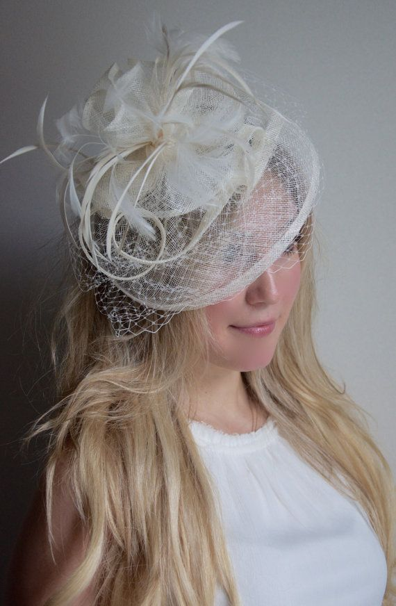 Ivory Fascinator Noor Cream Hat Headband W Ribbon Waves And